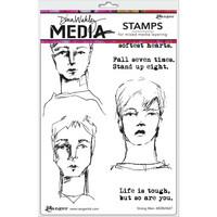 Dina Wakley Media - Cling Stamps, Strong Men, Leimasetti
