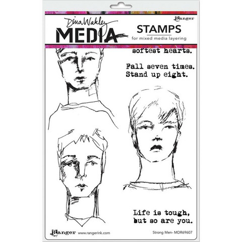 Dina Wakley Media - Cling Stamps, Strong Men, Leimasetti