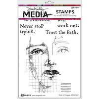 Dina Wakley Media - Cling Stamps, Work In Progress, Leimasetti