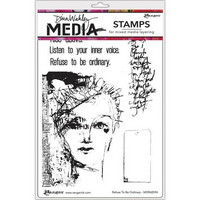 Dina Wakley Media - Cling Stamps, Refuse To Be Ordinary, Leimasetti
