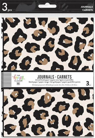 MAMBI - 3 Pack Journals, Leopard, Black and White