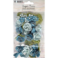 49 and Market - Sugar Posies, Blue Raspberry, Paperikukkasetti