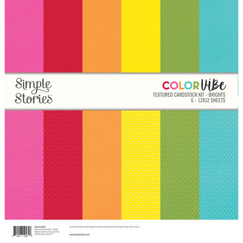 Simple Stories - Textured Cardstock Kit, Brights, 12