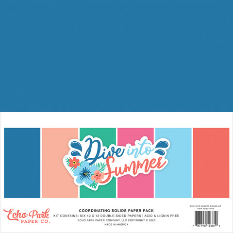 Echo Park - Dive Into Summer Solids Kit, 12
