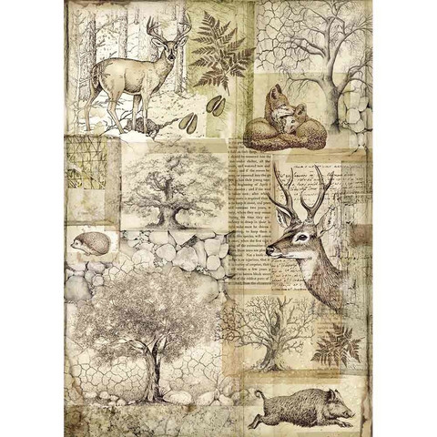 Stamperia - Rice Paper, A4, Deer and Wild Boar
