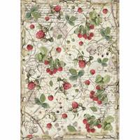 Stamperia - Rice Paper, A4, Raspberry