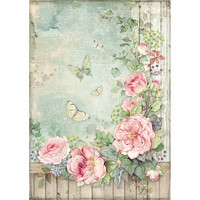 Stamperia - Rice Paper, A4, Roses Garden with Fence