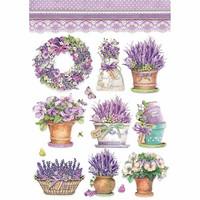 Stamperia - Rice Paper, A4, Lavender Vase