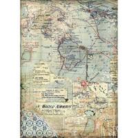 Stamperia - Rice Paper, A4, Maps