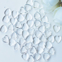 Dress My Crafts - Water Droplet Embellishments, Clear Heart 3, 100 osaa