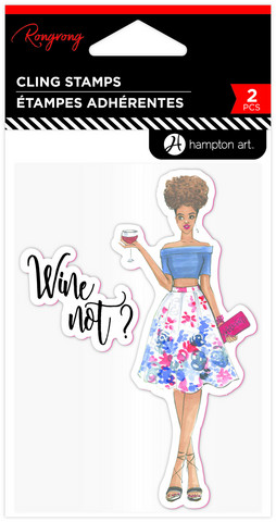 Hampton Art - Rubber Stamps, Rongrong, Wine Not?, Leimasetti