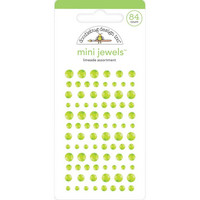 Doodlebug - Adhesive Mini Jewels, 84 osaa, Limeade