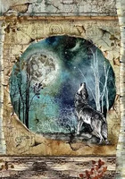 Stamperia - Rice Paper, A4, Cosmos Wolf And Moon