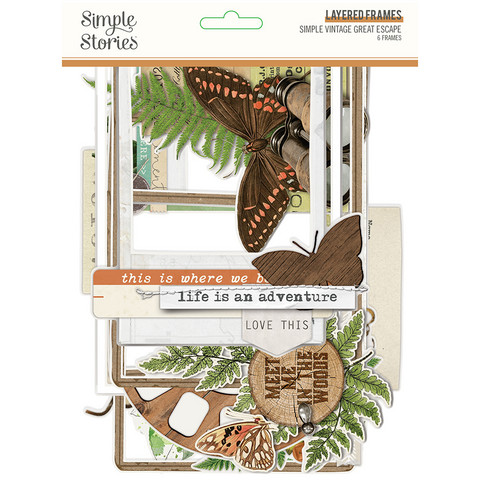 Simple Stories - Simple Vintage Great Escape Layered Frames Die-Cuts, 6 kpl