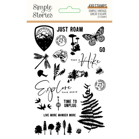 Simple Stories - Simple Vintage Great Escape, Photopolymer Clear Stamps, Leimasetti