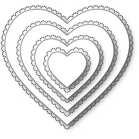 Memory Box - Scallop Pinpoint Loving Heart Cut Out, Stanssisetti