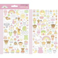 Doodlebug - Bundle Of Joy Icons, Mini Cardstock Stickers, 2 arkkia