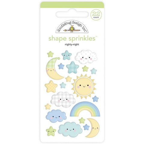 Doodlebug - Special Delivery, Sprinkles Adhesive Enamel Shapes, Nighty Night, 22 osaa