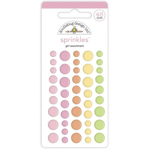 Doodlebug - Bundle Of Joy, Sprinkles Adhesive Enamel Dots, Baby Girl Assortment, 45 osaa,