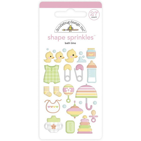 Doodlebug - Bundle Of Joy, Sprinkles Adhesive Enamel Shapes, Bath Time, 27 osaa