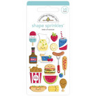 Doodlebug - Bar-B-Cute, Sprinkles Adhesive Enamel Shapes, Taste Of Summer, 16 osaa