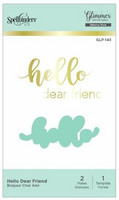 Spellbinders - Glimmer Hot Foil Plate & Die Set, Hello Dear Friend