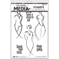 Dina Wakley Media - Cling Stamps, Contour Figures, Leimasetti