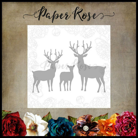 Paper Rose - Reindeer Family, Stanssisetti