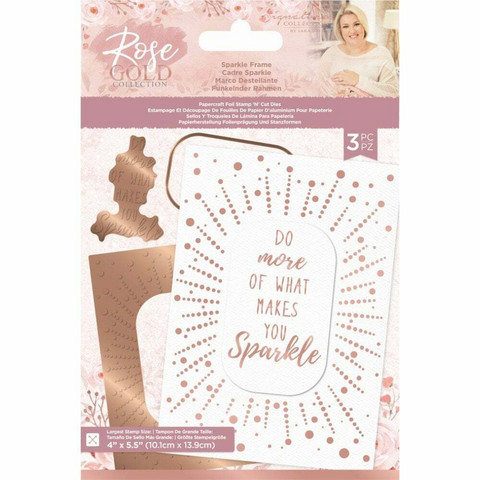 Crafter`s Companion - Sara Signature Collection Rose Gold, Foil Stamp 'N' Cut Die, Sparkle Frame