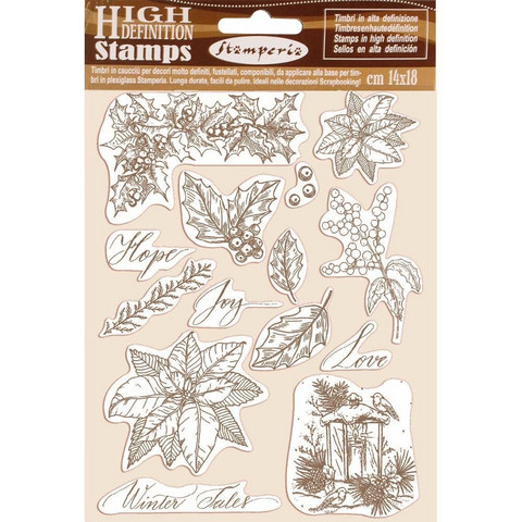 Stamperia - Natural Rubber Stamp, Poinsettia, Leimasetti