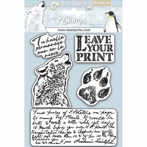Stamperia - Natural Rubber Stamp, Arctic Antarctic Leave Your Print, Leimasetti