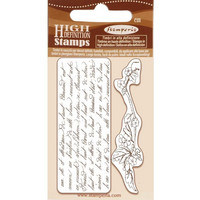Stamperia - Natural Rubber Stamp, Writings and Branch, Leimasetti