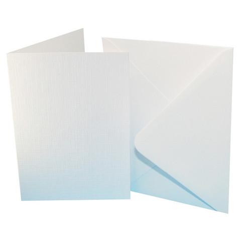 Craft UK - Korttipohja, valkoinen kangaskuvioinnilla, A6, 50kpl, sis.kirjekuoret
