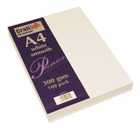 CraftUK - White Smooth Card A4, valkoinen, 300g, 100ark