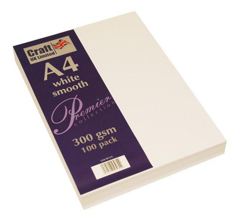 CraftUK - White Smooth Card A4, valkoinen, 300g, 100ark