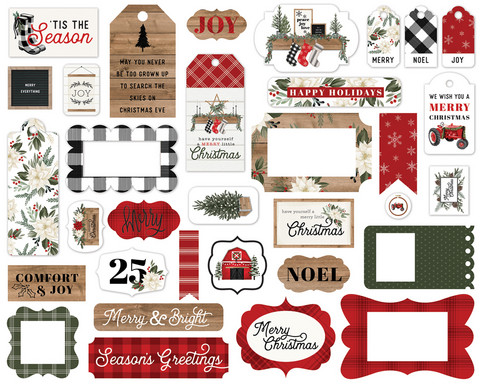 Carta Bella - Farmhouse Christmas Frames & Tags Ephemera, Leikekuvia, 33 kpl