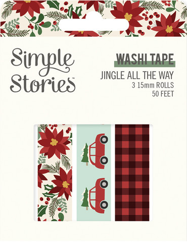 Simple Stories - Jingle All The Way, Washi Tape, 3 rullaa