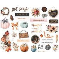 Prima Marketing - Pumpkin & Spice, Chipboard Stickers, 33 osaa