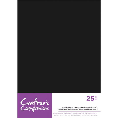 Crafter's Companion - Matte Black Self-Adhesive Card, A5, 25arkkia