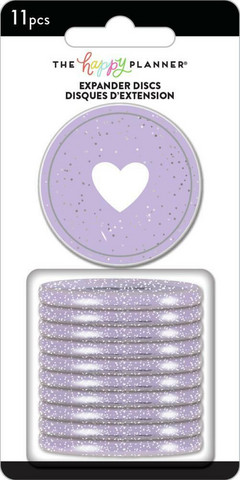 Mambi - Happy Planner renkaat, Glitter Grape, 1,75