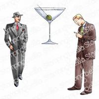Stamping Bella - Edgar And Molly Vintage Martini Men Set, Leimasetti