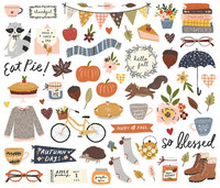 Simple Stories - Cozy Days  Bits & Pieces Die-Cuts, 65 osaa