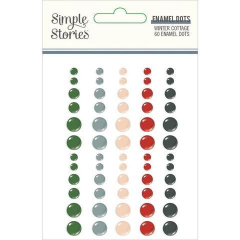 Simple Stories - Winter Cottage Enamel Dots, 60 kpl