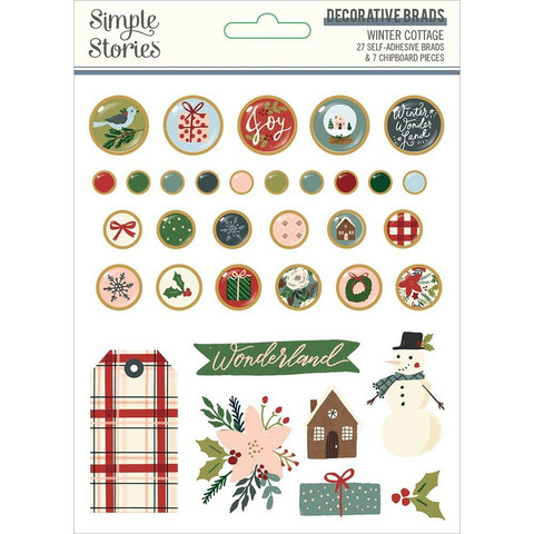 Simple Stories - Winter Cottage, Decorative Brads, 34 osaa