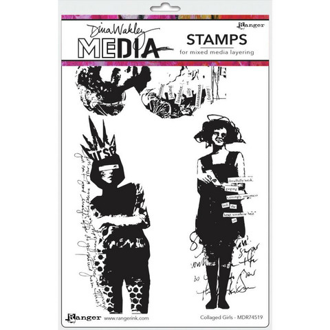 Dina Wakley Media - Cling Stamps, Collaged Girls, Leimasetti