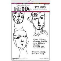 Dina Wakley Media - Cling Stamps, Change, Leimasetti