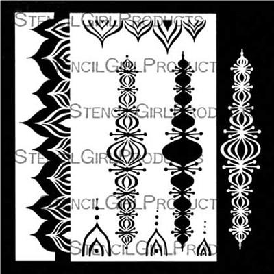 StencilGirl - Pointed Scalloped Border Stencil & Masks, Maski&Sapluuna, 9