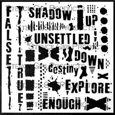 StencilGirl - Text and Texture Explore Stencil, Sapluuna, 6