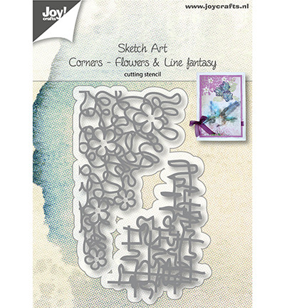 Joy Crafts - Sketch Art - Cornerflowers, Stanssisetti