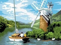 Royal&Langnickel - Paint By Numbers Kit, Windmill on the River